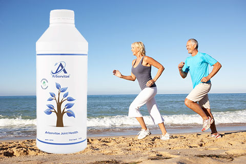 Couple chasing an Arborvitae Joint Health supplement bottle